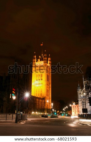 London United Kingdom - Victoria Tower in night