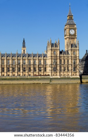 London view, Big Ben, Parliament and river Thames - stock photo