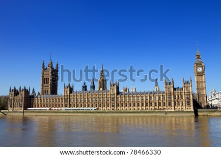 London view, Big Ben, Parliament, bridge and river Thames - stock photo
