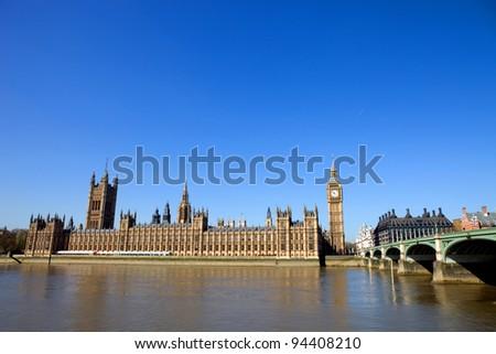 London view, Big Ben, Parliament, bridge and river Thames - stock photo