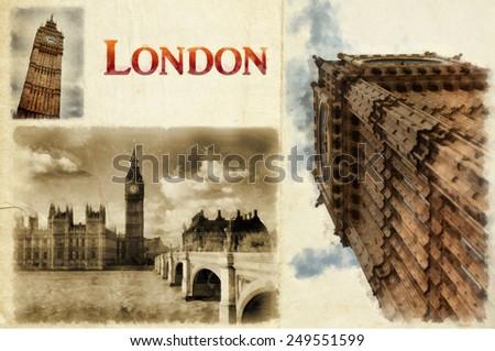 London watercolor illustration. London Landmark. Landscape of London. Big Ben Tower. Hand-drawn Sketch Illustration. - stock photo