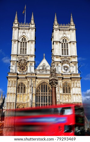 London, Westminster Abbey with red double decker, UK - stock photo