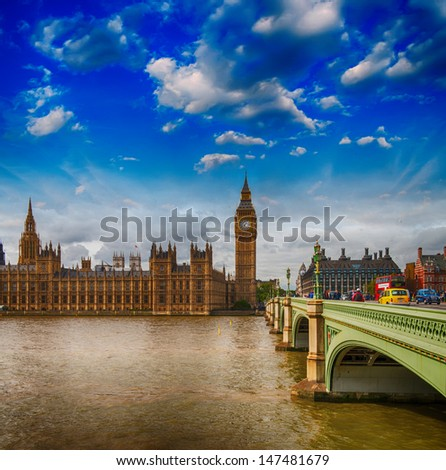London. Westminster Bridge and Houses of Parliament with Thames river. - stock photo