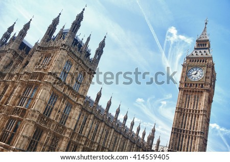 London westminster houses of parliament and big ben in a sunny day - stock photo