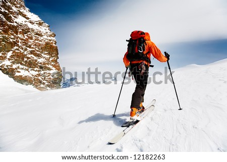 Lone Alpine Touring Skier. MonteRosa, Swiss-Italy border. - stock photo