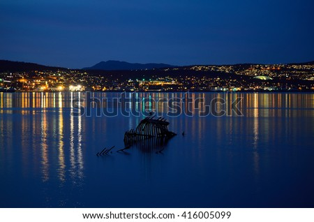 lone cormorant bird sitting on a weathered old wooden ship wreck in creamy white fjord water at night with the city island of tromsoe in the background