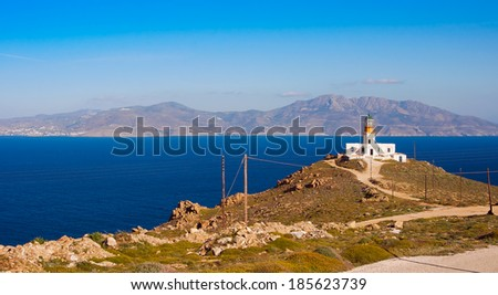Lone lighthouse on the hillside. Mykonos.Greece
