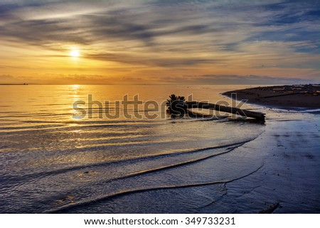 Lone log in the calm beach, with the sunset on the backgroud - stock photo