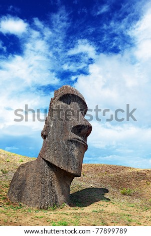 Lone moai standing in Easter Island - stock photo