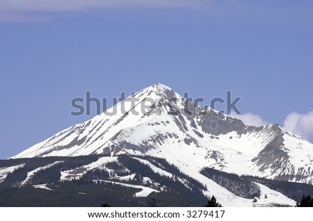 Lone Mountain located at Big Sky, Montana. - stock photo