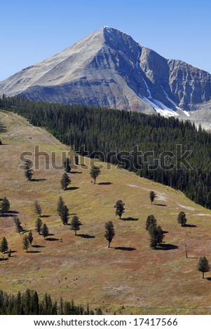 Lone Peak of Big Sky in summer - stock photo