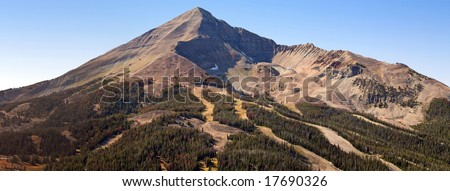 Lone Peak of Big Sky in the Summer - stock photo