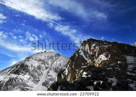 Lone Peak of Big Sky Resort - stock photo
