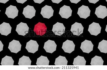 lone red umbrella - stock photo