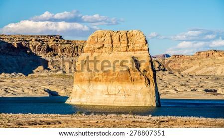 Lone Rock in Lake Powell Arizona USA - stock photo