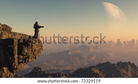 Lone Space Marine guardsman standing on a cliff edge overlooking a distant city on an alien world, 3d digitally rendered illustration - stock photo