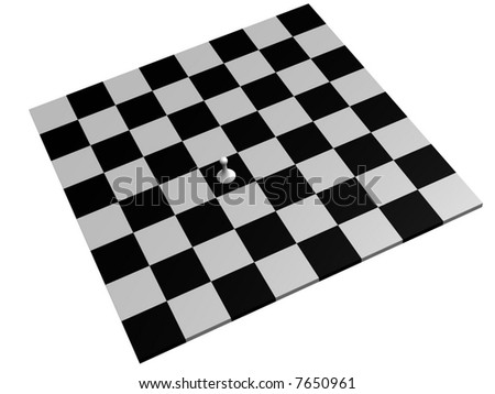 lone white pawn on a chess board - stock photo