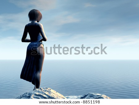 Loneliness. Young woman alone standing at the beach - stock photo