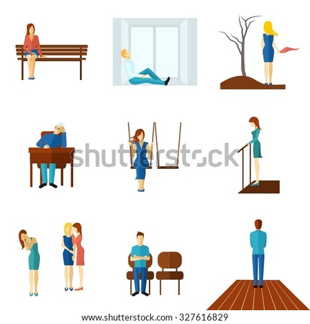 Lonely and unhappy people young and old man and woman flat color icon set isolated  illustration
