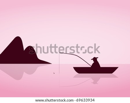 lonely angler are fishing on a beautiful pink morning - stock photo