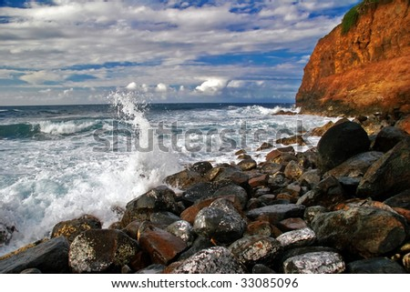 Lonely beach on the Big Island. Hawaii. USA - stock photo