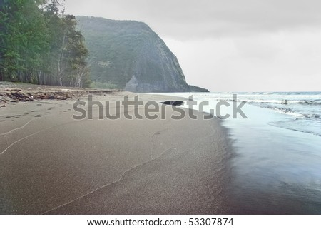 Lonely beach on the Big Island in stormy weather. Hawaii. USA - stock photo