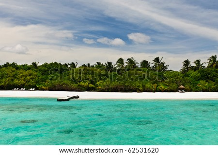 lonely beach on the maldives - stock photo