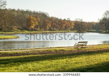 Lonely bench at lake