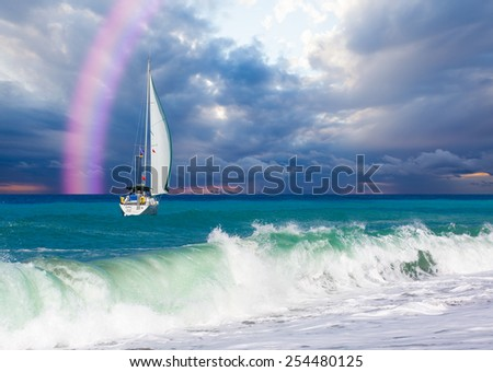lonely boat against pink rainbow  - stock photo