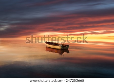 Lonely boat on the lake,morning from Hungary  - stock photo