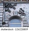 Lonely boy. Ancient building. Odessa, Ukraine. - stock photo