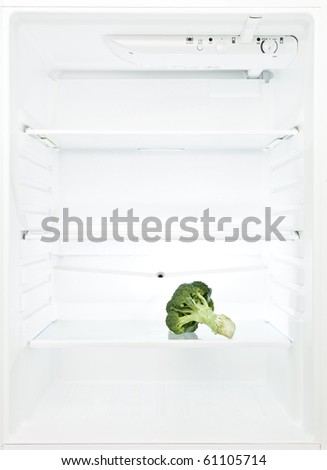 Lonely Broccoli in a fridge - stock photo