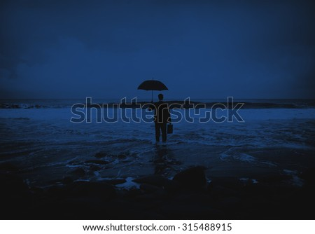 Lonely Businessman Alone Anxiety Beach Concept - stock photo
