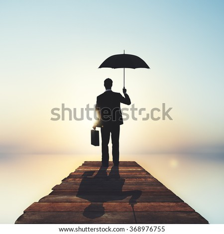 Lonely Businessman Alone Anxiety Stress Concept - stock photo