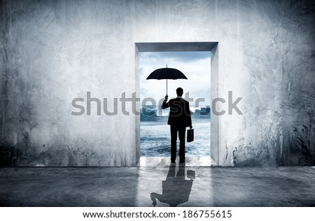Lonely Businessman Facing Financial Depression - stock photo