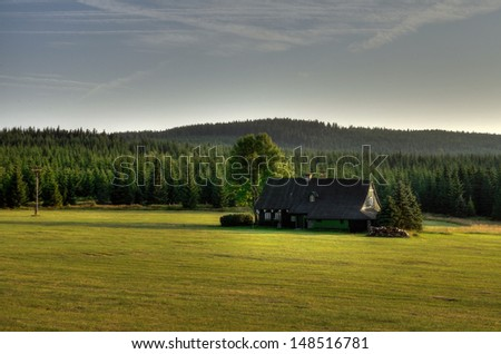 Lonely cabin in the Czech�´s Republic, Jizera�´s mountain region. - stock photo