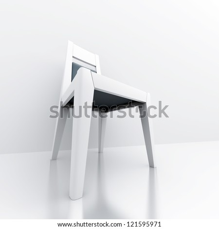 lonely chair in a bright and clear room - stock photo