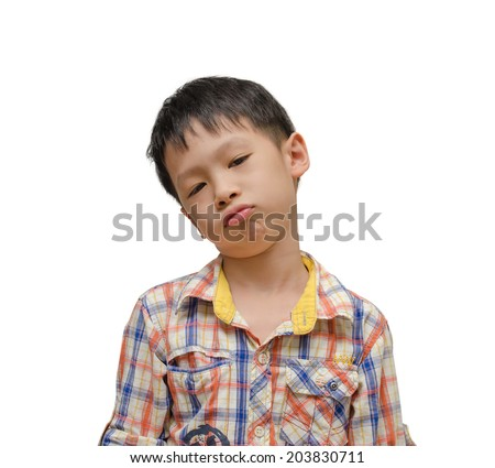 Lonely child unhappy on white background - stock photo
