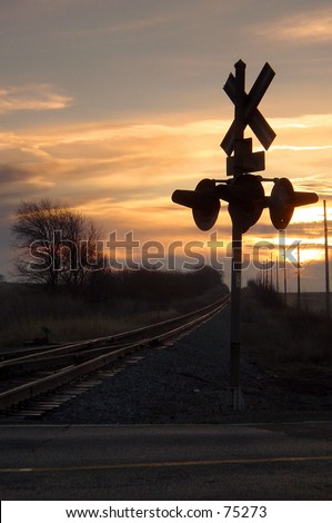 lonely crossing at dawn - stock photo