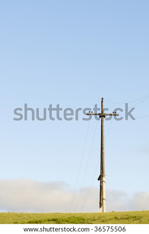 lonely electric pole in a meadow