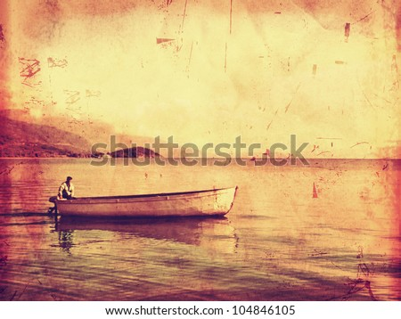 Lonely ferryman on boat vintage style