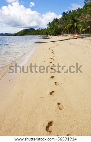 Lonely footprints on tropical beach, Busuanga island, Palawan,  Philippines - stock photo