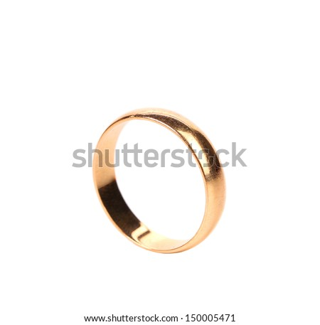 Lonely golden wedding ring - stock photo