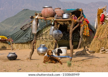 Lonely house in the desert near Pushkar, India - stock photo