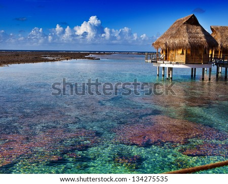 lonely hut at the infinite ocean - stock photo