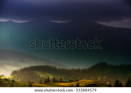 lonely hut in Carpathian mountain summer europe nature tourism weather - stock photo