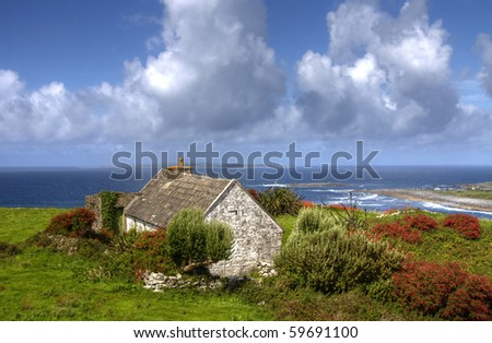 Lonely irish house - stock photo