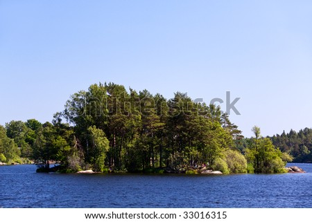 Lonely island in Sweden,Stockholm Archipelago - stock photo