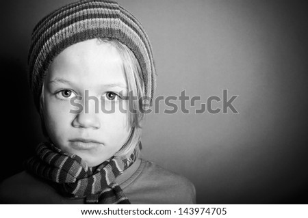 Lonely little boy - stock photo