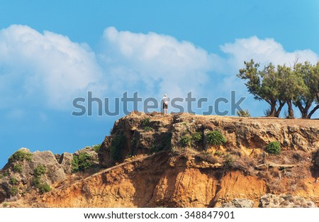 Lonely male tourist standing on the hill. - stock photo